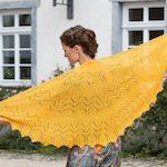 Sonnengelber Spitzen-Schal zum Nachstricken