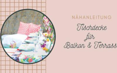 Für Balkon oder Garten: Eine Tischdecke aus Tüchern